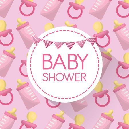 Baby shower card bottle milk with pacifier pink background celebration vector illustration