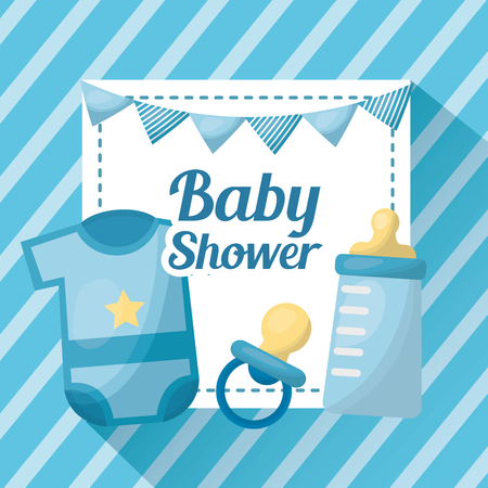 Baby shower card blue striped pennants clothes pacifier bottle milk vector illustration