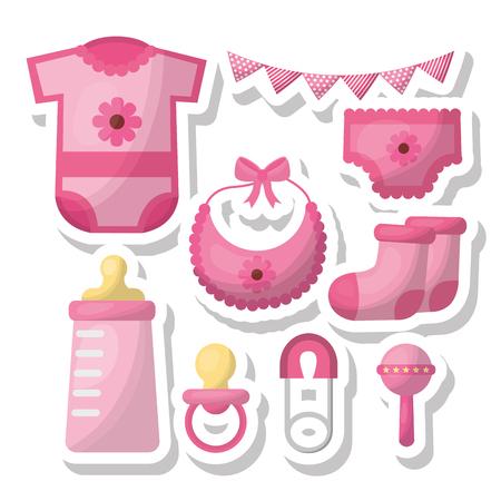 Baby shower card pennants bottle milk socks pacifier diaperrattle girl things vector illustration Banque d'images - 99616240
