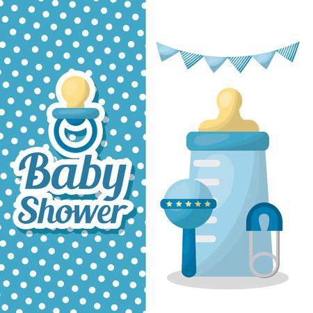 Baby shower card banner with sign celebration boy bottle milk rattle pennants pacifier vector illustration