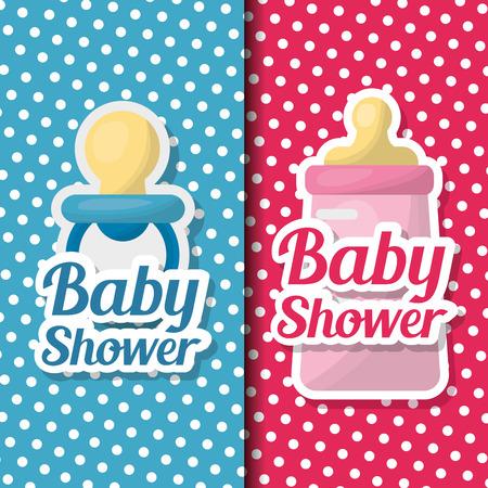 Baby shower card banners girl and boy celebration stripe pink blue pacifier bottle milk vector illustration Illustration