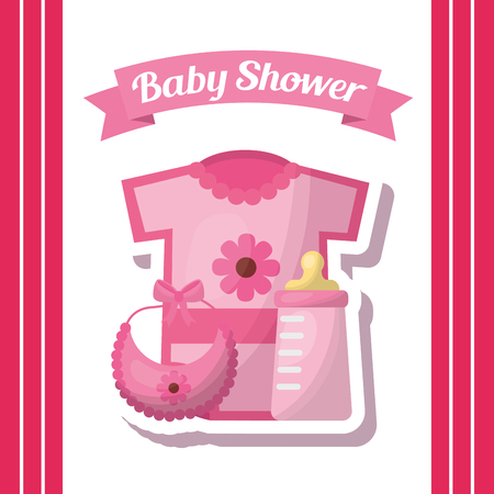 Baby shower card invitation clothes bib bottle milk girl vector illustration