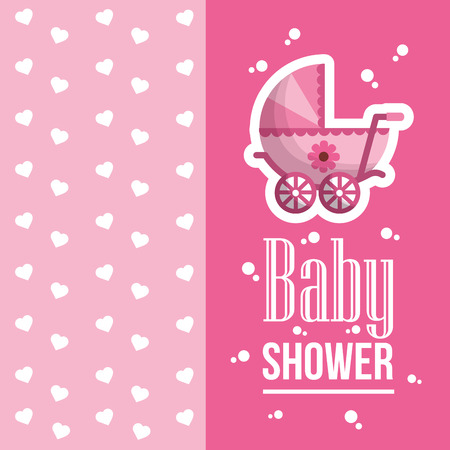 happy baby shower hearts bubbles pink background born girl  pram  celebration vector illustration Vectores