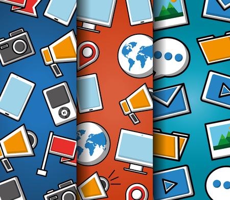 Pattern social media networks mp3 folder email picture marketing global video vector illustration Stok Fotoğraf - 99612501