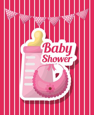 Baby shower girl card pennants bottle milk bib flower pink stripes background vector illustration Illustration