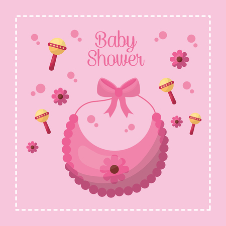 Happy baby shower flowers bubbles rattle pink background bib with bow girl day vector illustration Illustration
