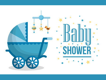 Happy baby shower pram sticker with stars hanging toys star duck blue background vector illustration