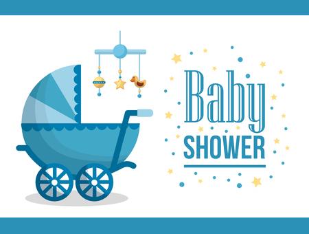 Happy baby shower pram sticker with stars hanging toys star duck blue background vector illustration