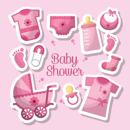 Happy baby shower toes clothes bottle milk socks safety pins pram breeches celebration vector illustration
