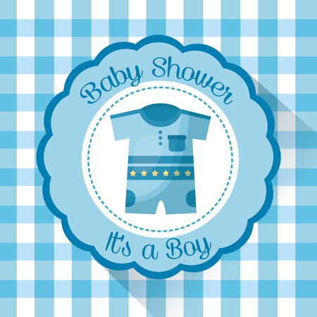 Happy baby shower sticker with clothes boy a boy welcome celebration vector illustration Stock Vector - 99611654