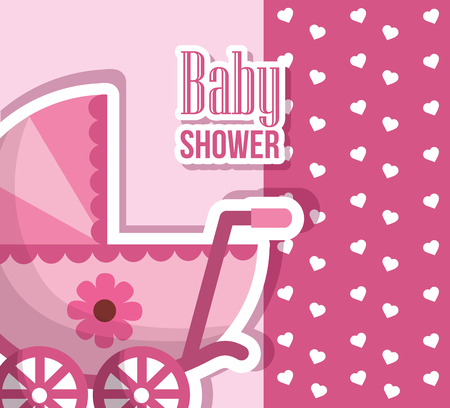 Happy baby shower pink pram with flower hearts born background vector illustration 스톡 콘텐츠 - 99611657