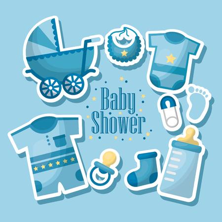Gelukkig baby douche geboren jongen viering blauwe kleding slabbetje fopspeen kinderwagen teen sok vectorillustratie