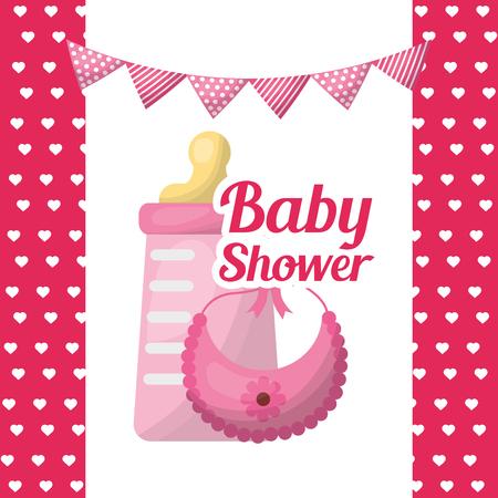 Baby shower girl invitation poster celebration bottle bib with flower pink pennants hearts background vector illustration