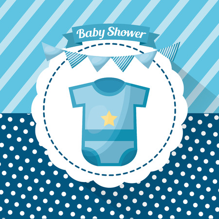 Baby shower boy card gretting stripe background sticker with clothes pennants celebration vector illustration