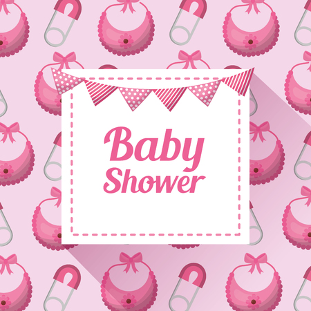 Baby shower girl card many bibs safety pin pink background card invitation pennants vector illustration