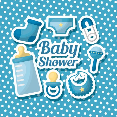 Baby shower card striped background clothes rattle bib pacifier hook sock sign celebration vector illustration Ilustracja