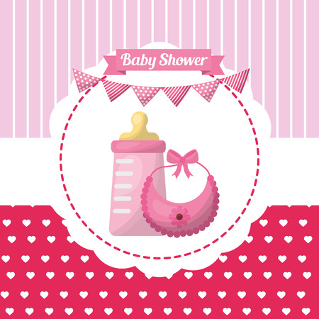 Baby shower girl card hearts stripes background sticker with bib bottle milk pennants vector illustration