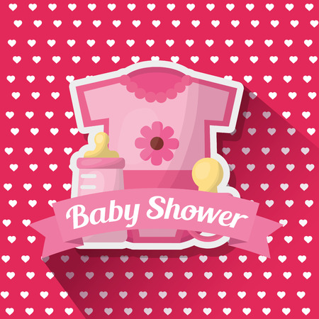 Baby shower card heart pink background girl celebration clothes with flower bottle pacifier vector illustration Çizim