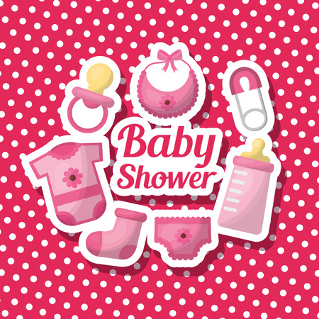 Baby shower girl card celebration pink background sock bib clothes flowers pacifier safety pin vector illustration