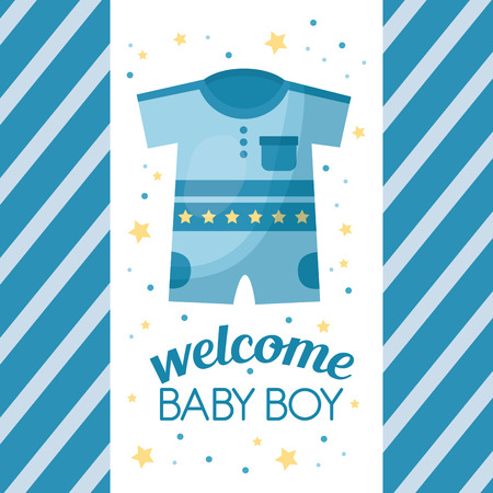 Happy baby shower stars stripes blue background clothes welcome boy celebration vector illustration 스톡 콘텐츠 - 99613265