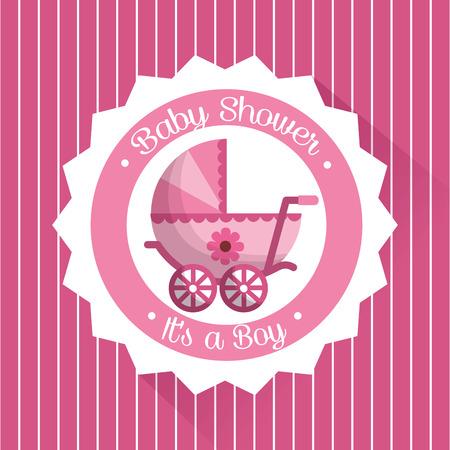 Happy baby shower striped pink background label with pram flower girl vector illustration Иллюстрация