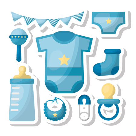 Baby shower card boy celebration pennants bottle bib pacifier diaper blue vector illustration Illustration