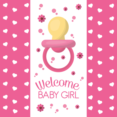 Happy baby shower welcome girl baby pacifier pink hearts flowers vector illustration Фото со стока - 99611307