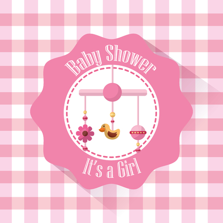 Happy baby shower label with baby crib mobile its a girl born vector illustration