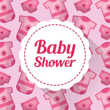 Baby shower card pink clothes background invitation poster celebration vector illustration Иллюстрация