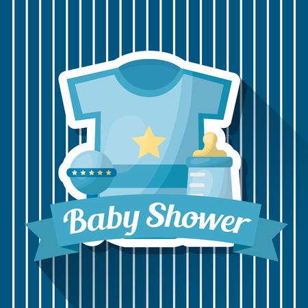Baby shower card blue stripes clothes rattle bottle milk ribbon vector illustration
