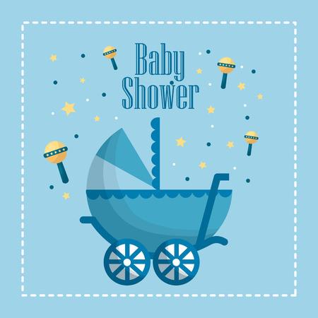 Happy baby shower rattles yellow stars pram blue frame born celebration vector illustration