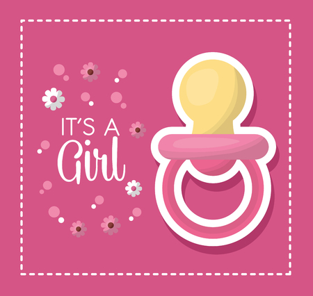 Happy baby shower pink flowers bubbles background big baby pacifier girl born vector illustration