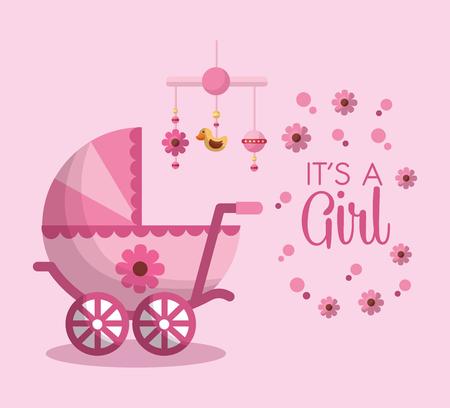 Happy baby shower welcome girl born pink pram flower hanging mobile background vector illustration Illustration