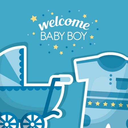 Happy baby shower blue pram clothes with stars welcome boy celebration vector illustration