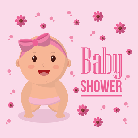 Baby shower girl beatiful babe smiling flowers pink bubbles vector illustration