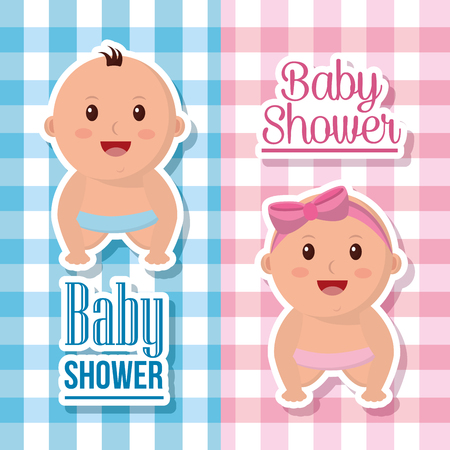 Baby shower boy and girl banners with babes smiling square background welcome born fest vector illustration