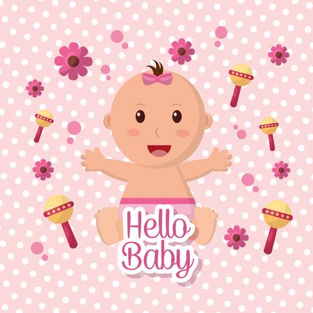 Baby shower girl flowers rattles pink background happy babe stretching arms vector illustration Ilustração