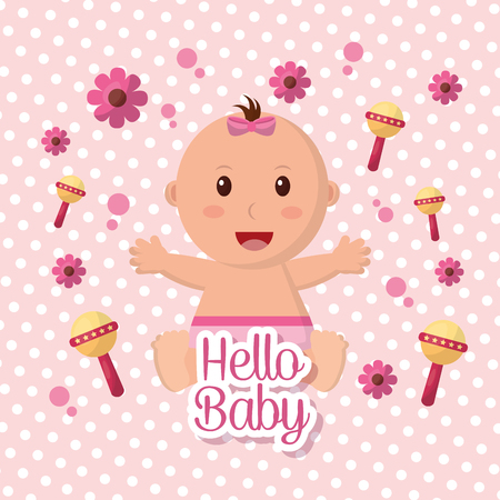 Baby shower girl flowers rattles pink background happy babe stretching arms vector illustration Stock Illustratie