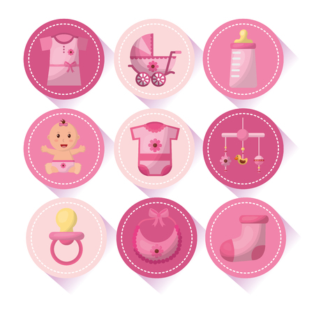 Baby shower girl stickers with things pacifier hanging mobile sockbib vector illustration Illustration