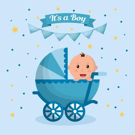 Baby shower boy estrellas banderines azules fondo celebración nacido cochecito ilustración vectorial