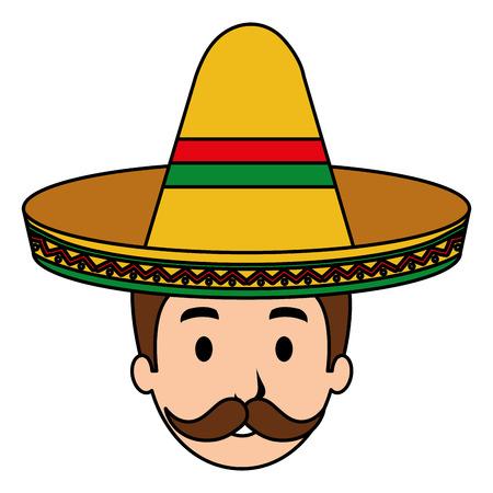 mexican mariachi head avatar character vector illustration design Ilustrace