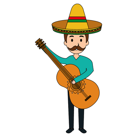 mexican mariachi playing guitar avatar character vector illustration design 写真素材 - 99639425