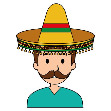 mexican mariachi avatar character vector illustration design