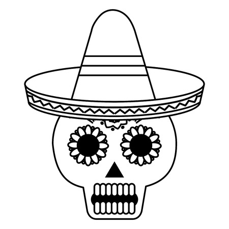 death day mask with mexican hat celebration vector illustration design Stock Vector - 99648989