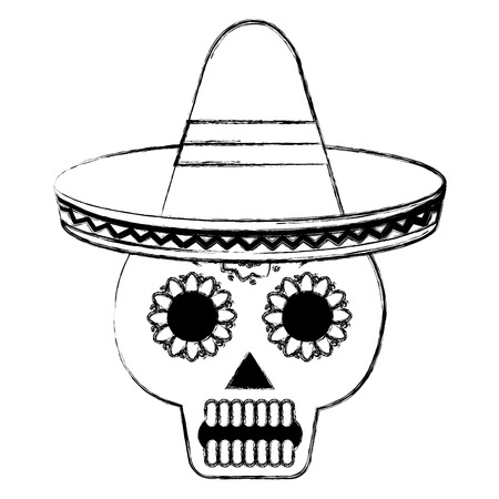 death day mask with mexican hat celebration vector illustration design Archivio Fotografico - 99643252