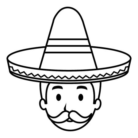 mexican mariachi head avatar character vector illustration design  イラスト・ベクター素材