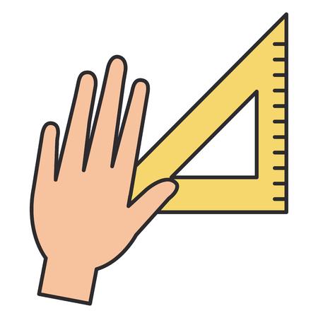 hand with rule school supply icon vector illustration design Reklamní fotografie
