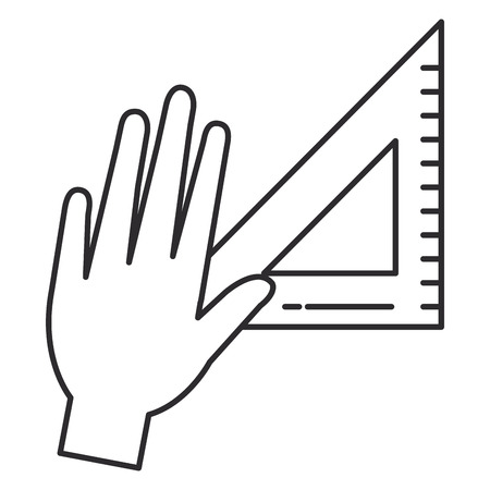 Hand with triangular ruler icon