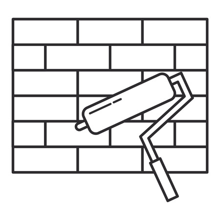 wall bricks with roller paint tool vector illustration design