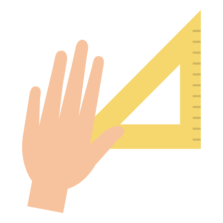 hand with rule school supply icon vector illustration design Ilustrace